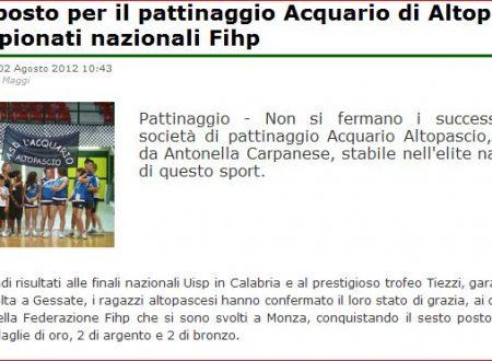 Di Lucca – articolo sul risultato dell'Acquario Altopascio a Monza 2012 – 6° posto di società.