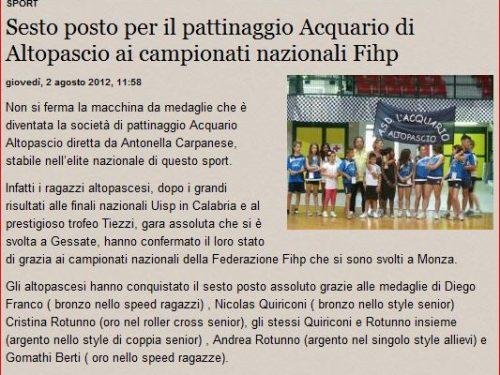 La Gazzetta di Lucca – Articolo sul risultato dei campionati Italiani Monza 2012