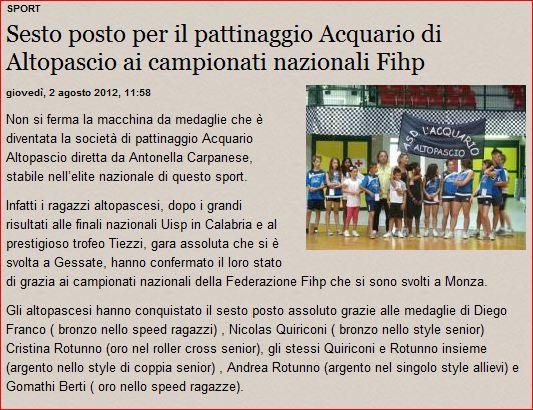La Gazzetta di Lucca - Acquario Altopascio - pattinaggio in linea freestyle