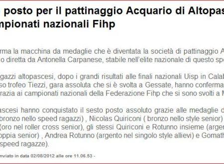 La voce di Lucca – articolo dopo i risultati dell'Acquario ai campionati Italiani di Lamezia ed il Tiezzi
