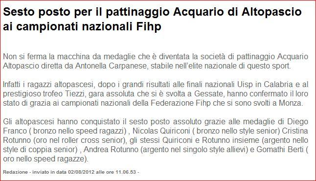 La Voce di Lucca Acquario Altopascio freestyle pattinaggio in linea