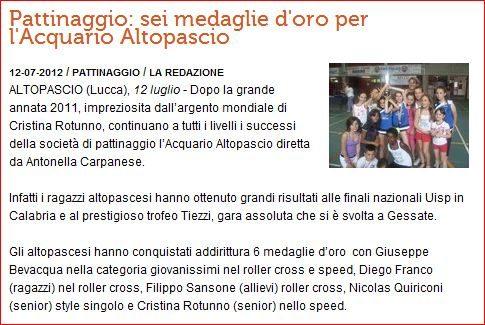 Lo schermo – Articolo sul campionato Italiano Tiezzi e Lamezia – 2012 Acquario pattinaggio.