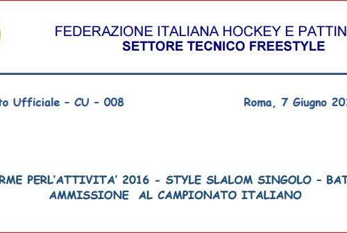FIHP CAMBIO REGOLAMENTO : STYLE E BATTLE AMMESSI AL CAMPIONATI ITALIANI I PRIMI TRE PATTINATORI